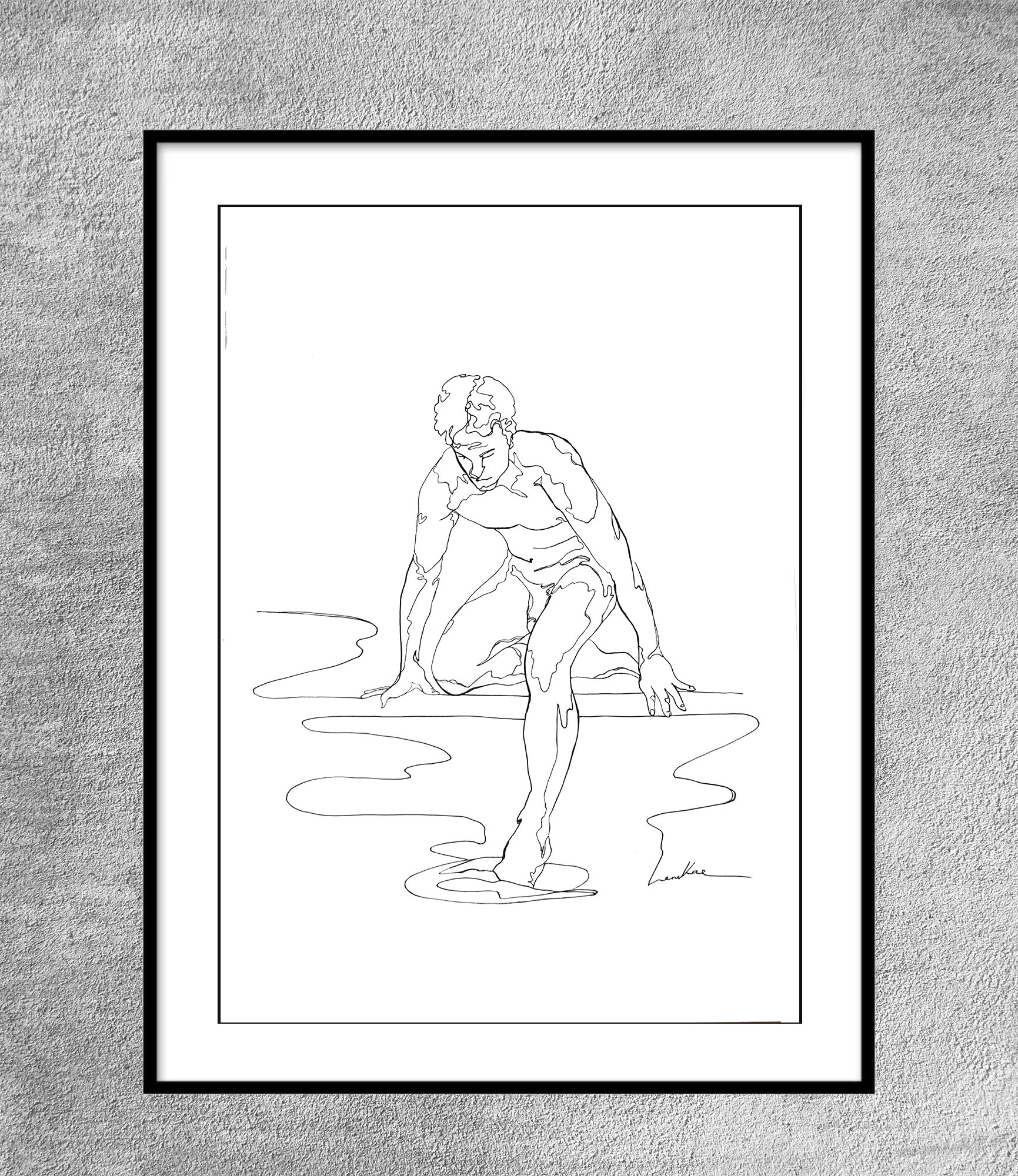 Leni Kae Sydney Artist Illustrator Framed Eg A Toe In The Water Line Art Drawing