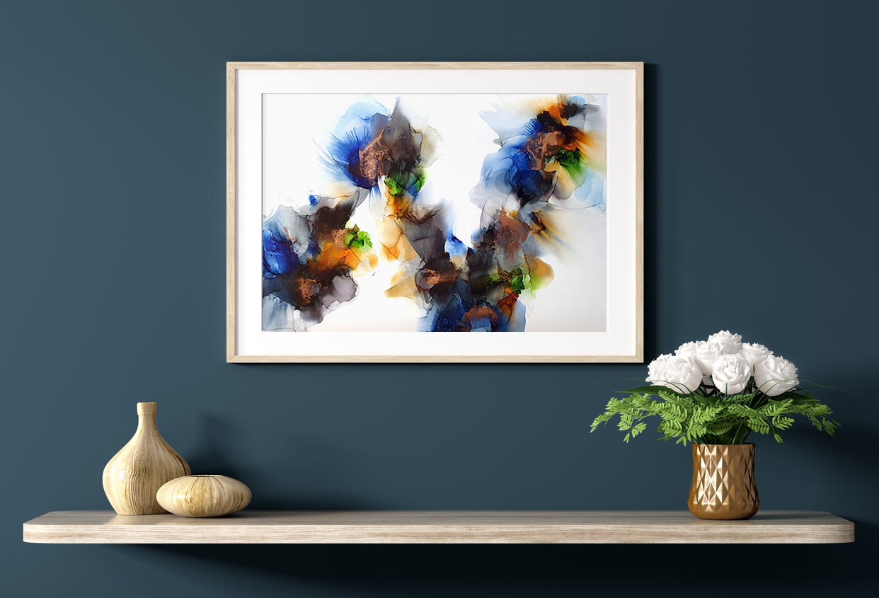 Shelf With Poster And Bouquet Of Flowers Over Blue Wall 3d Rendering