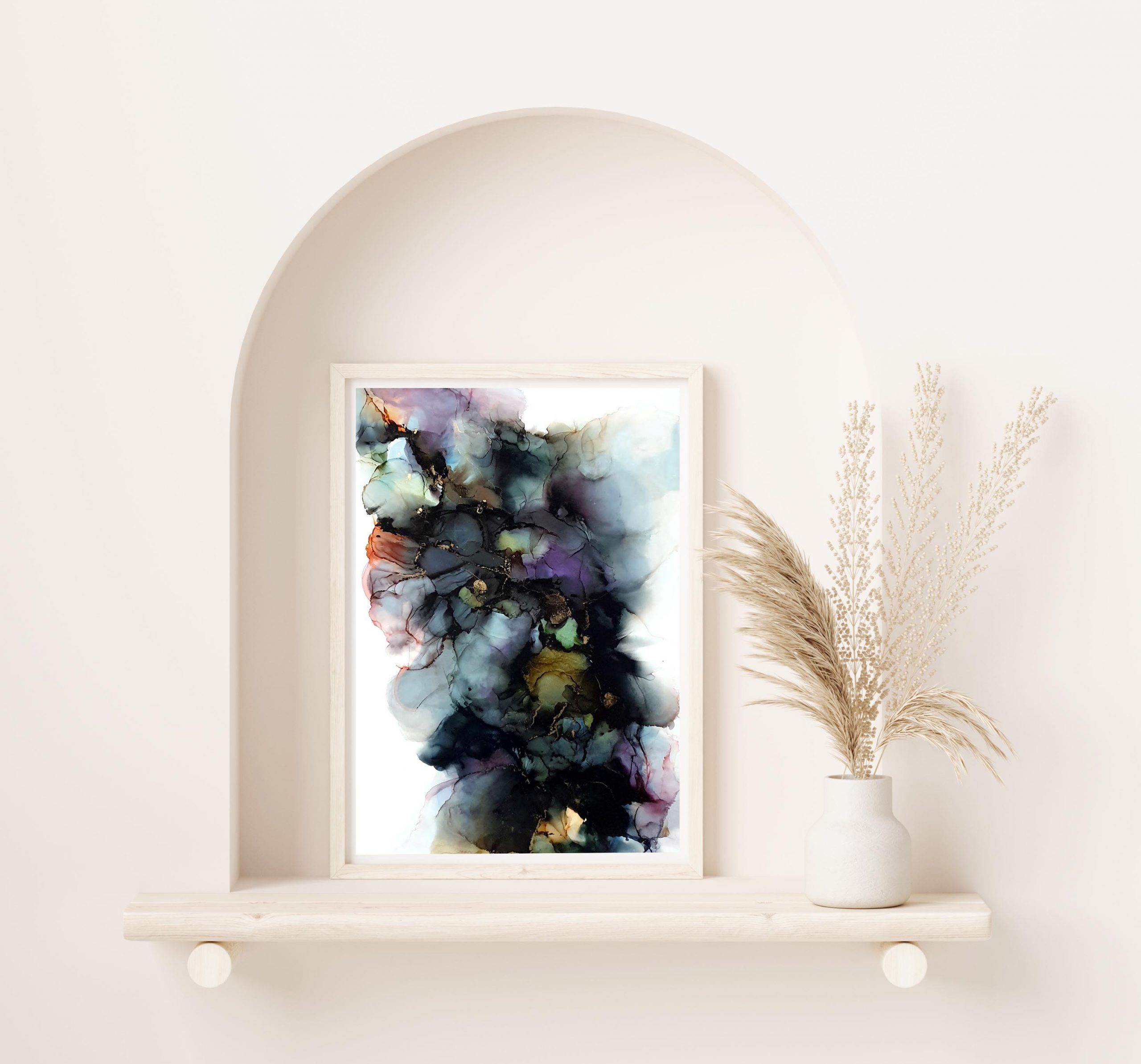 Mock Up Frame Close Up In Home Interior Background With Plant In Vase