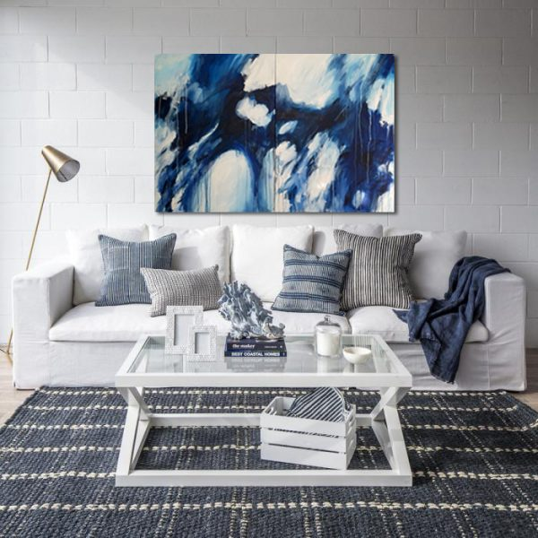 Rachel Prince Blue Diptcyh 07 76.5cmx204cm Acrylic On Canvas $2580 Quiet Reflection Series 2020 In Situ 01