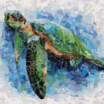 Blue Water Sea Turtle