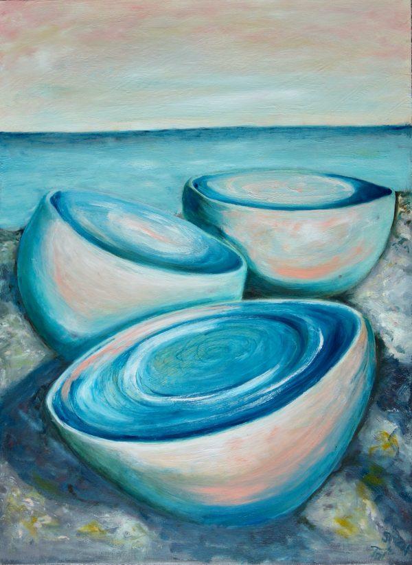 Three Bowls On The Rocks At Twilight