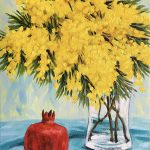 Wattle and pomegranate still life