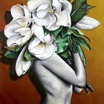 White Magnolias Ltd Ed Print on Canvas