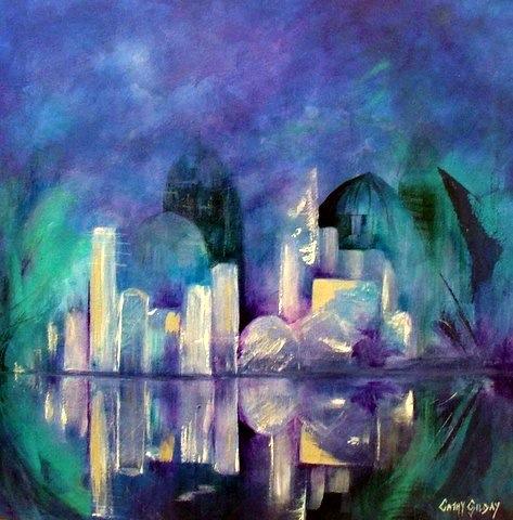 ìfuture Cityî Acrylic On Canvas 455x455x38mm
