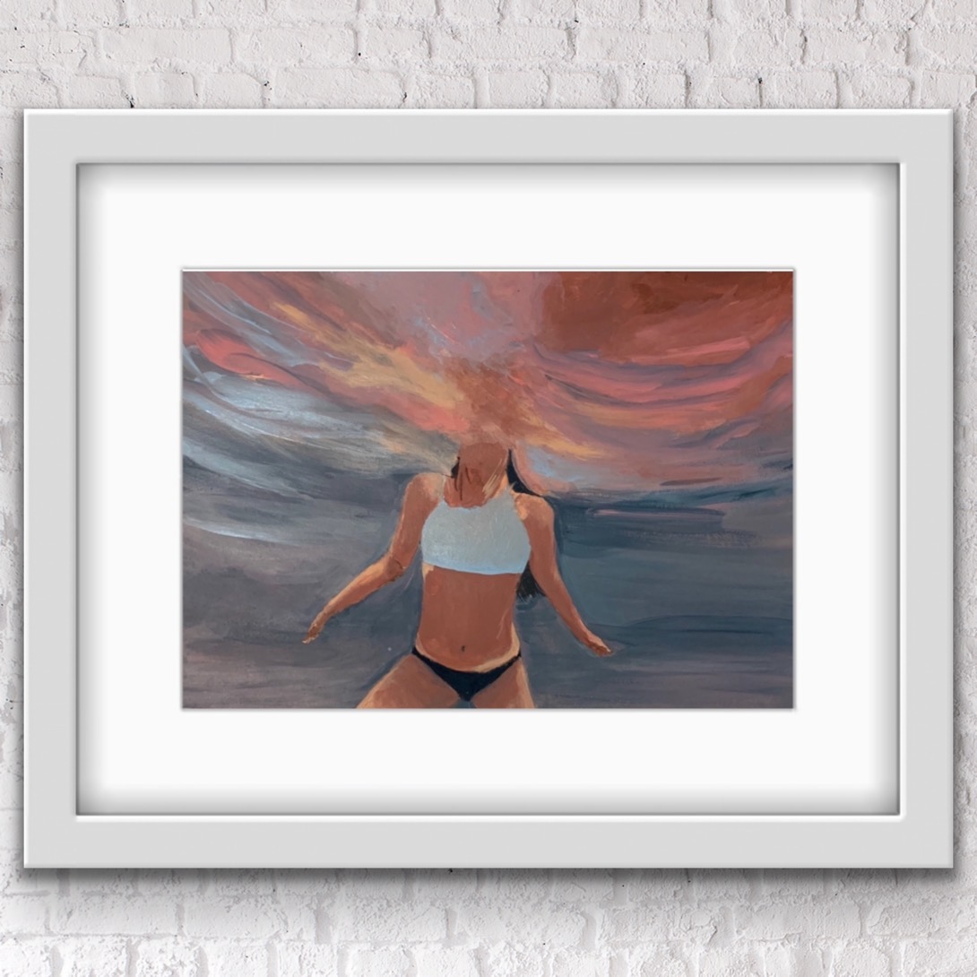 Weightless Underwater On Wall Painting Alanah Jarvis Framed In White