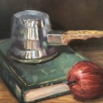Turkish coffee pot, apple, green book  – still life