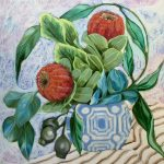 Waratah Banksias and the Blue Geo Vase