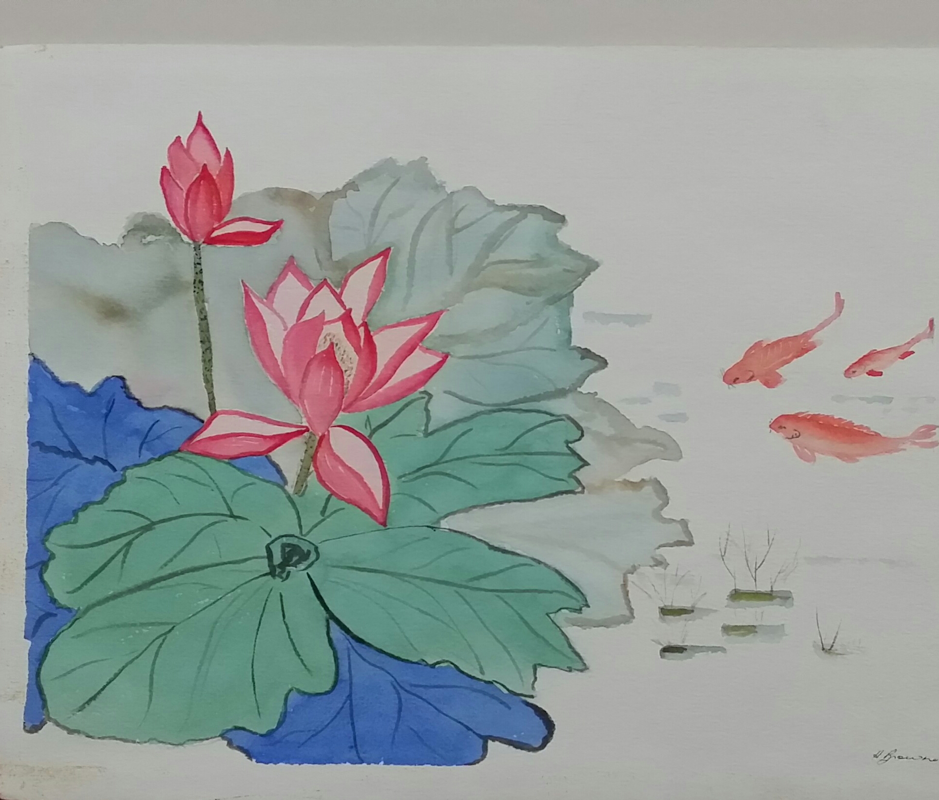 Chinese Fishpond 38×28