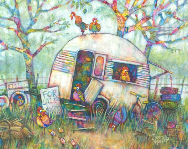 Going Cheep By Teresa Mundt Colourful Colorful Vintage Caravan Chook Chicken Garden Painting Acrylic Art