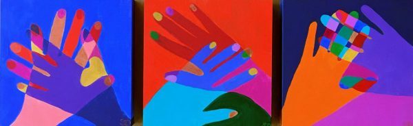 Hand In Hand Triptych (love Connect Embrace ) Shana Danon