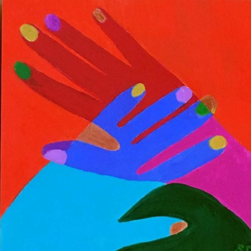 Hand In Hand Triptych Love Connect Embrace Shana Danon Art Lovers Australia