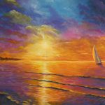 Nightfalls opening scene, sunset seascape