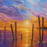 Sunset on the bay seascape 2 Ltd Ed giclee print