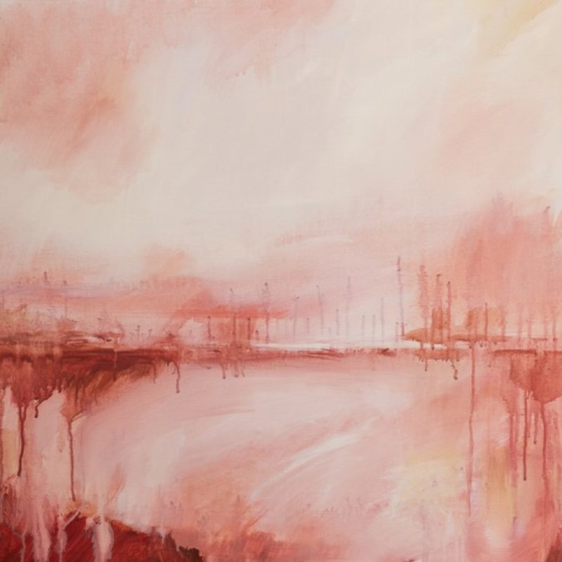 Rachel Prince Sunset Plains 01 101cmx101cm Acrylic On Canvas 1600 Quiet Reflection Series 2020