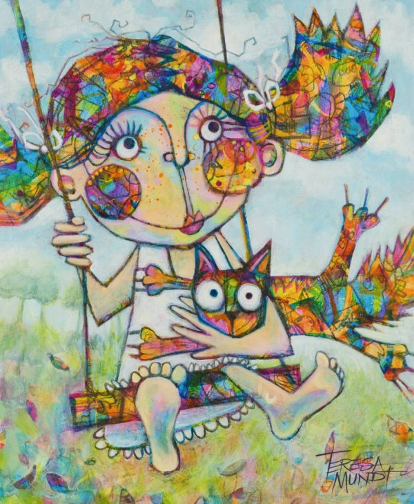 Room To Swing A Cat By Teresa Mundt Colourful Colorful Cat Girl Funny Quirky Art Painting