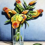 Sun Conure Lilies Ltd Ed Canvas Print