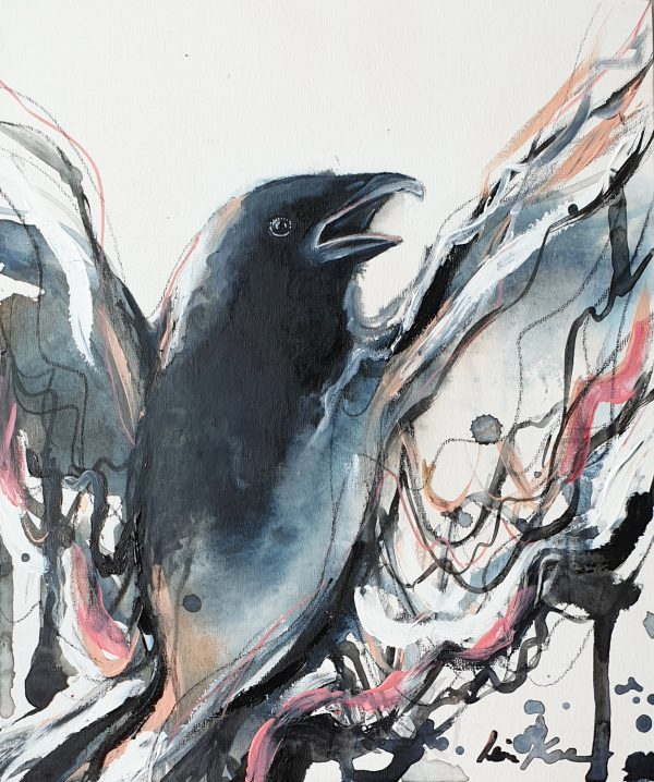 Sydney Artist Leni Kae Bird Artist As The Crow Calls
