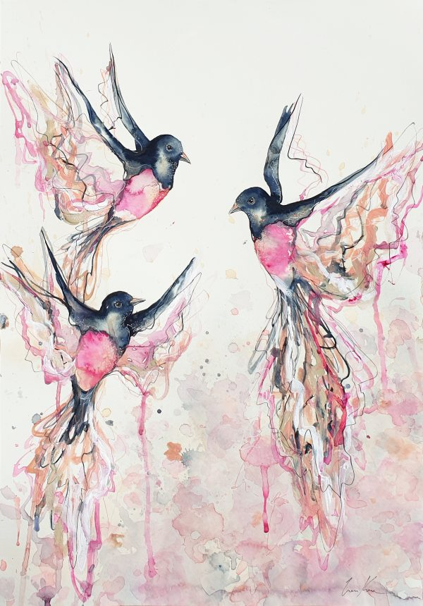 Sydney Artist Leni Kae Rose Robin Symphony Watercolour Birds Flying