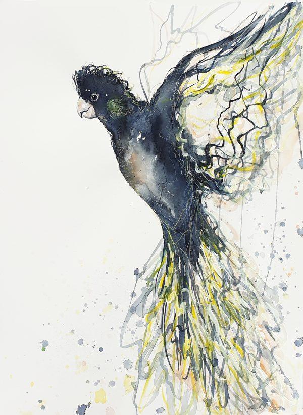 Sydney Artist Leni Kae Call Of The Black Cockatoo Watercolour Art 56x76cm Original Art 1100px