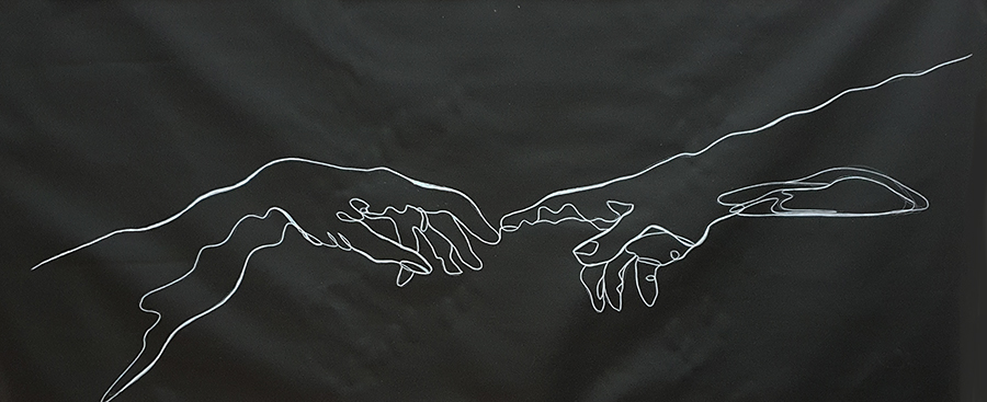 Sydney Artist Leni Kae Connection Line Art Series Michaelangelo Hands 900px
