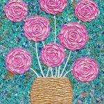 Pink Roses in Gold Vase