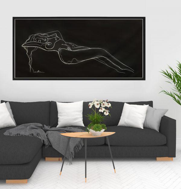 Sm 2 Line Artist Leni Kae Lounge Room Interior Design Black Frame Reclining Nude Original Art On Canvas 136x 63cm