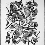 Wattle Birds with Gum Nut Flowers – Linocut Print