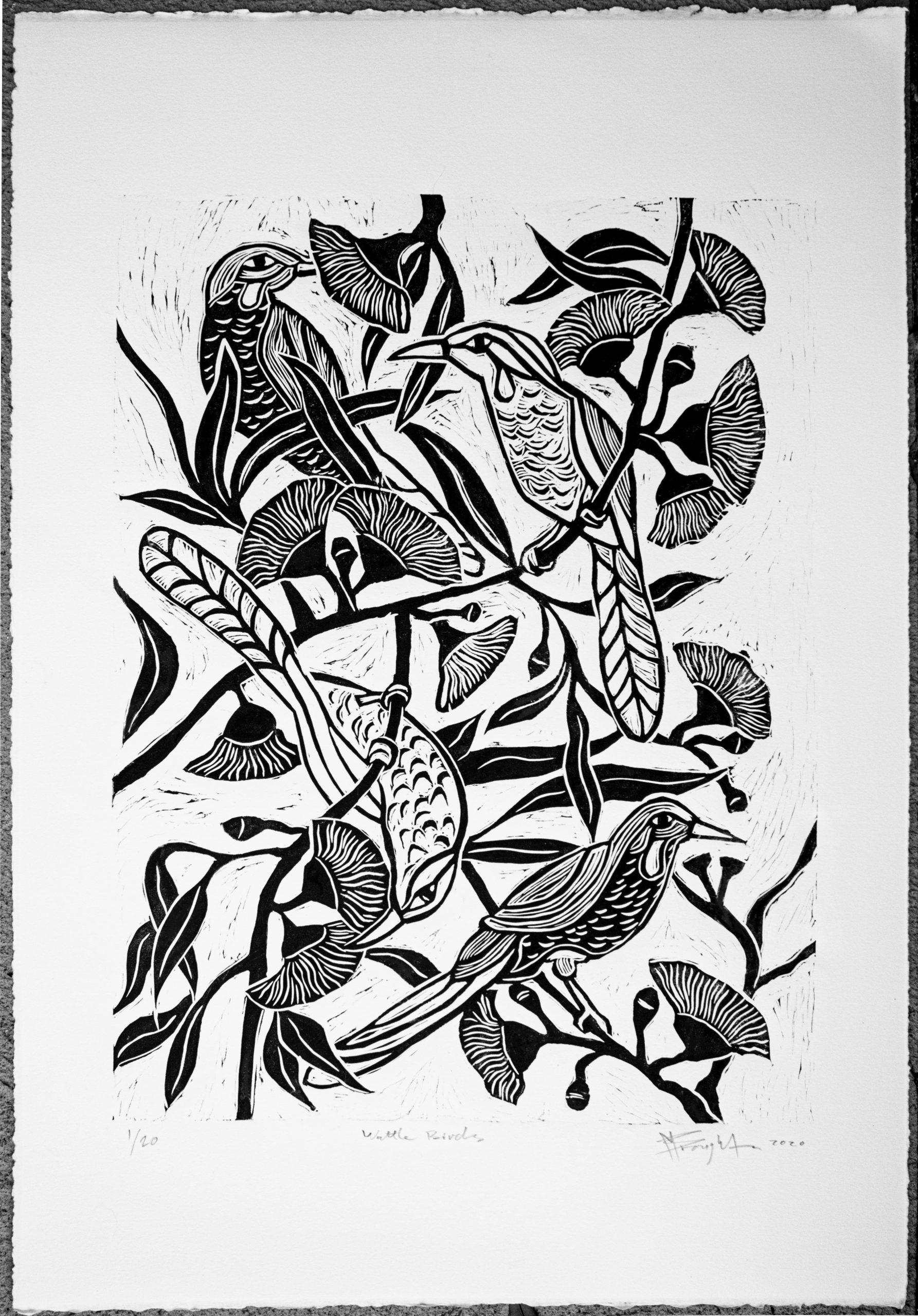 Wattle Birds Linocut Print