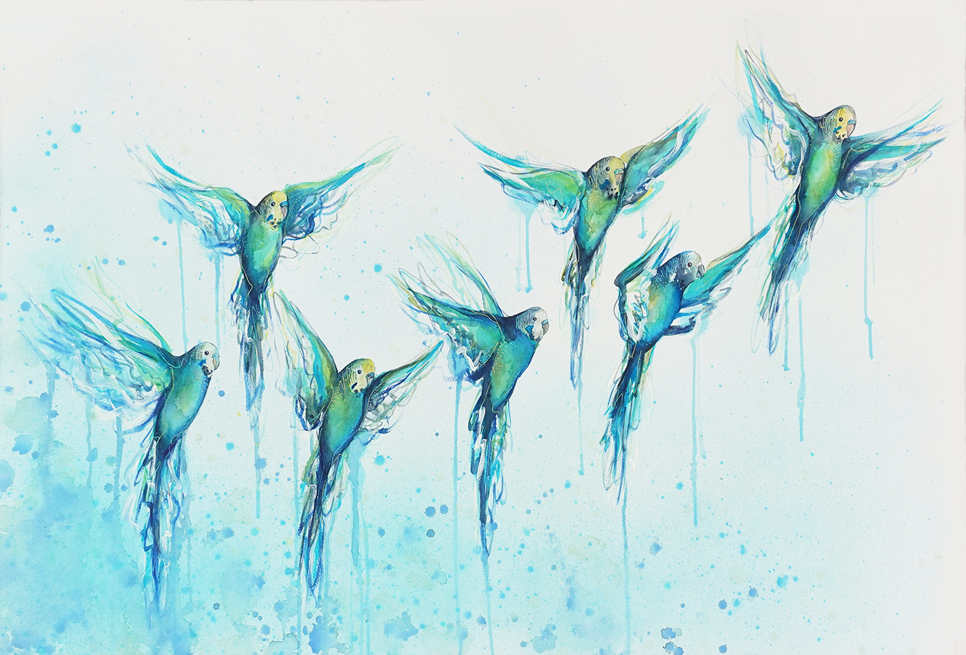 2c. Artist Leni Kae A Flying Flock To Give In 2020 (budgies) 2 100x68cm 1800px