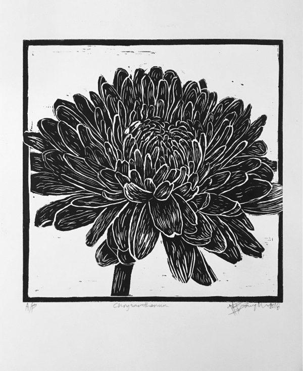 Chrysanthenum Lino Cut
