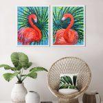 Flamingos (diptych)