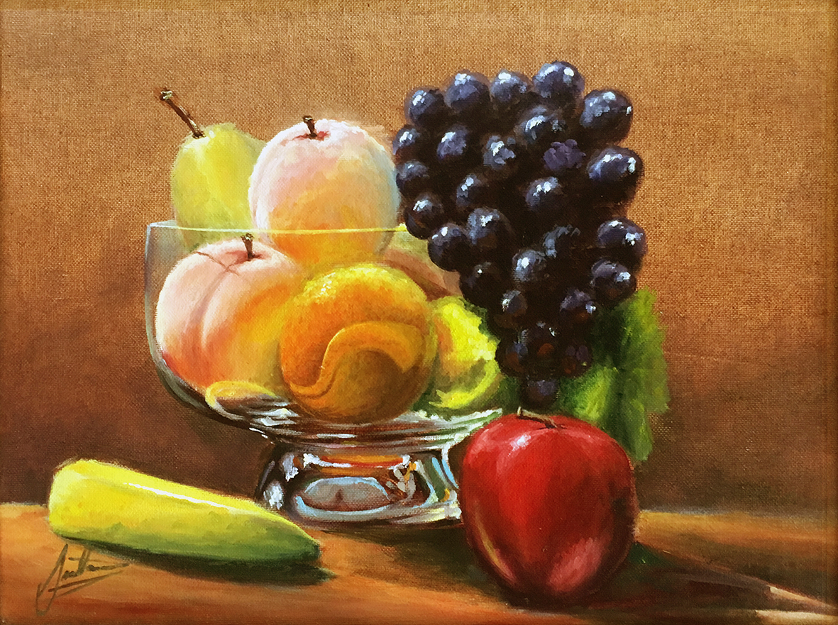 Fruit In A Glass Bowl No Frame