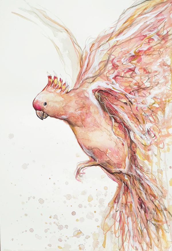 Sydney Artist Leni Kae Major Mitchell Cockatoo Bird Painting Art 2