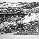Crashing Waves – linocut, Ltd Ed Print