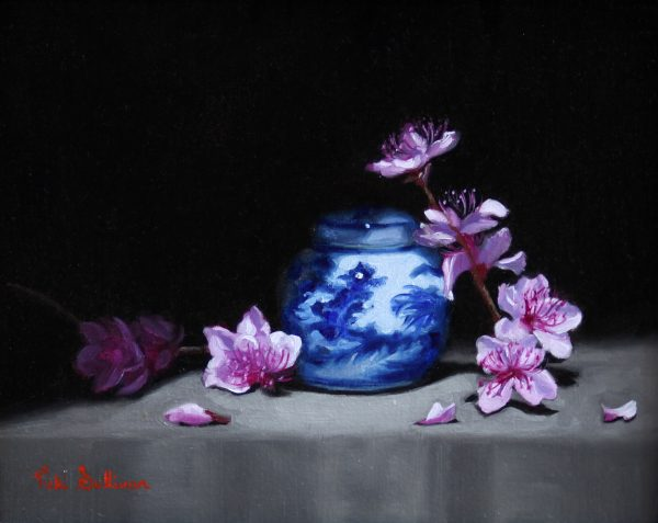 Blue And White Jar With Peach Blossoms Oil On Linen H 20cm X W 24cm