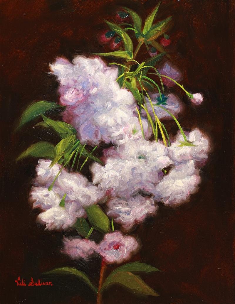 Cherry Blossom Bunches Vicki Sullivan Art Lovers Australia Oil On Linen H 30cm X W 23cm 2020