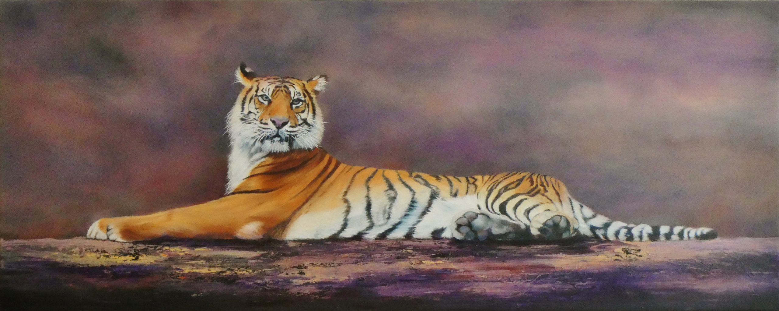 Clare Riddington Jones, Regal Feline, Water Based Oils On Canvas, 150cm X 60cm
