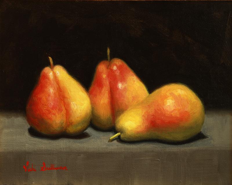 Corella Pears Oil On Linen Vicki Sullivan Art Lovers Australia H19cm X W 24cm