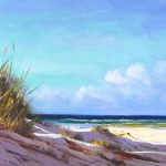 Grassy beach dunes