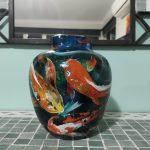 Koi Fish Ginger Jar Vase