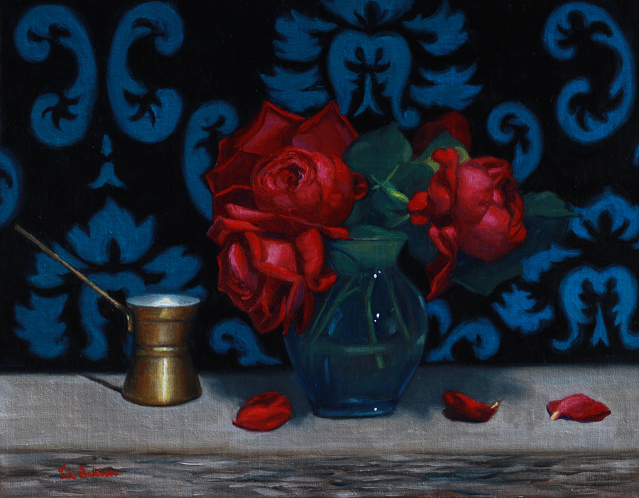 Mothers Favourite Red Roses Oil On Linen H 35cm X W 45cm