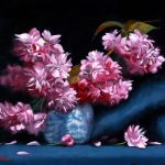 Cherry Blossoms in Blue and White Vase