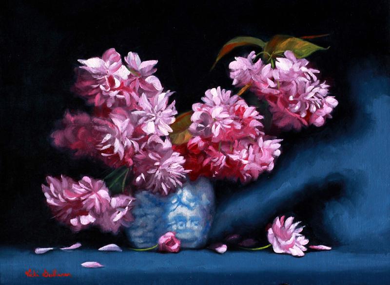 Pink Cherry Blossoms Vicki Sullivan Art Lovers Australia Oil On Linen H 30cm X W 39cm