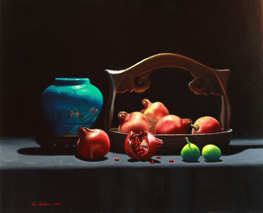 Pomegranates And Figs Vicki Sullivan Art Lovers Australia Oil On Linen H 61cm X W 51cm
