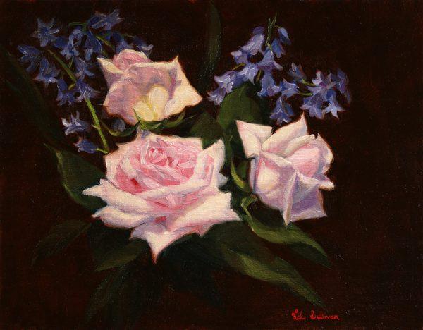 Roses And Bluebells Vicki Sullivan Art Lovers Australia Oil On Linen H 27cm X H 35cm 2020