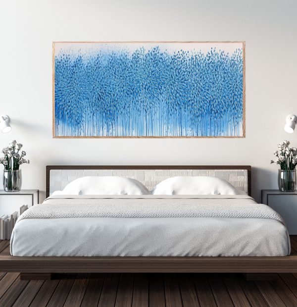 Sydney Artist Leni Kae Cropped2 The Ebb And Flow Of You Bedroom Art Interior Design Blue Abstract Art