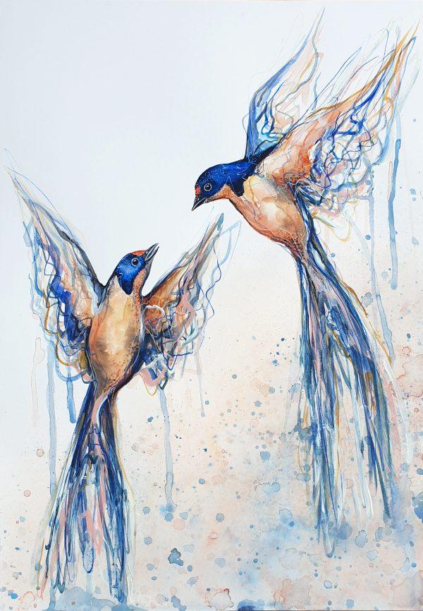 Sydney Artist Leni Kae Dance Of The Swallows Bird Art A2 Original 2