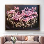 Twilight Protea – Framed Abstract Flowers – Large 158x113cm