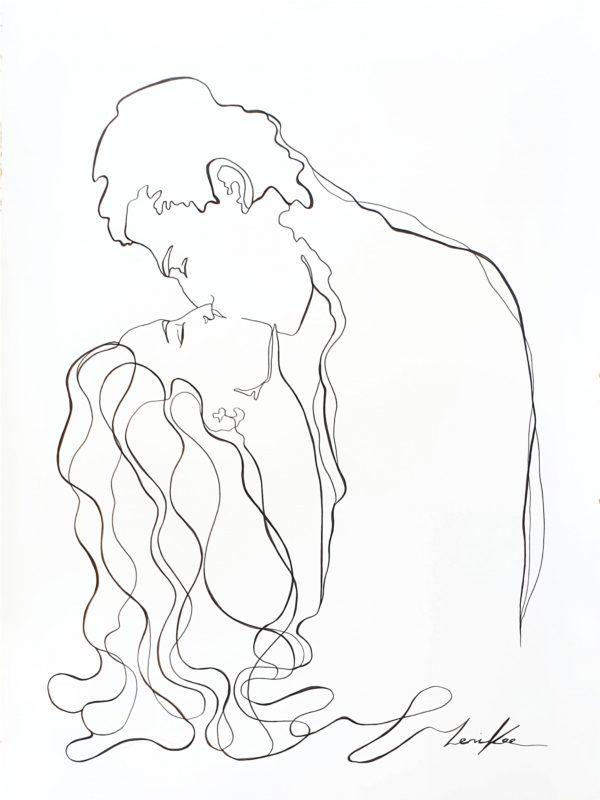 Artist Leni Kae When We Kiss Romantic Line Art Drawing